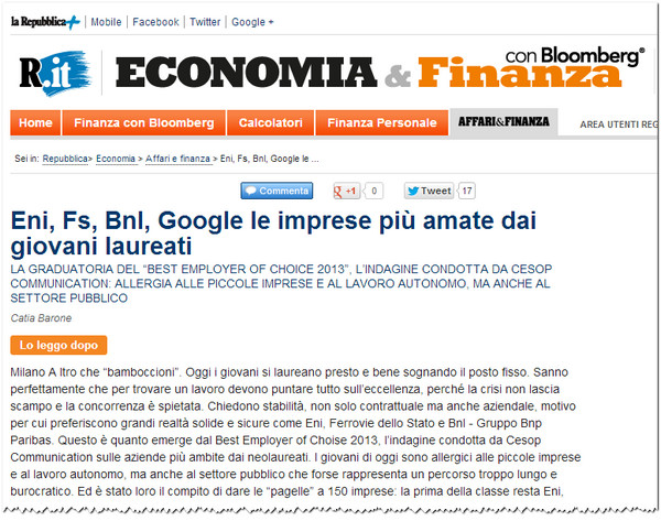 Eni Best Employer of Choice 2013_Repubblica.it